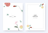 Minimalist floral wedding invitation card template design, Euphorbia milii, hibiscus, daffodil, calla lily and leaves with shadow on white background, pastel vintage theme