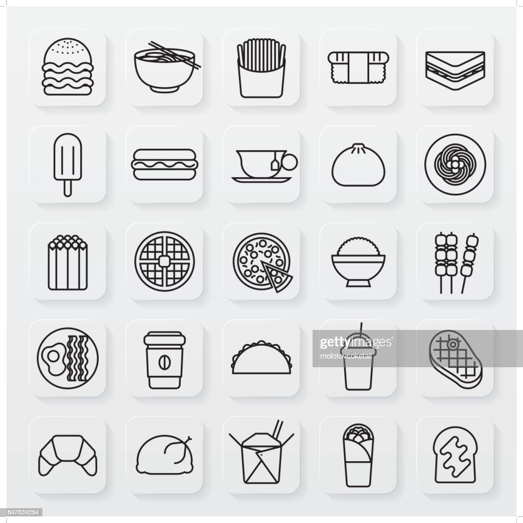 minimalist food and beverage line icon set