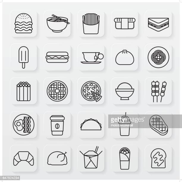 minimalist food and beverage line icon set