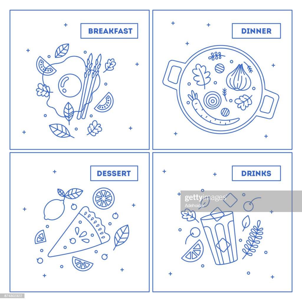 Minimalist food collection. Set of lineart dinner illustrations.