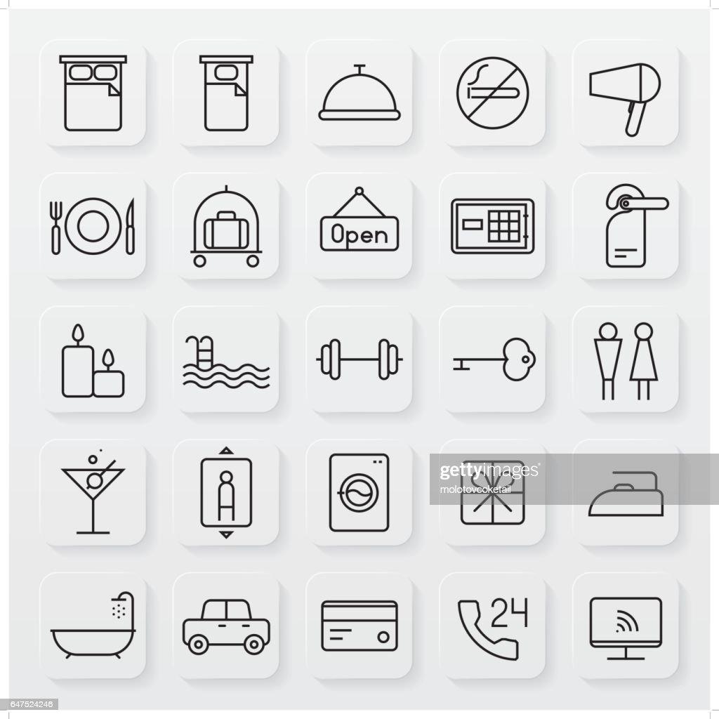 minimalist hospitality line icon set
