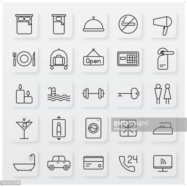 minimalistische gastvrijheid lijn pictogramserie
