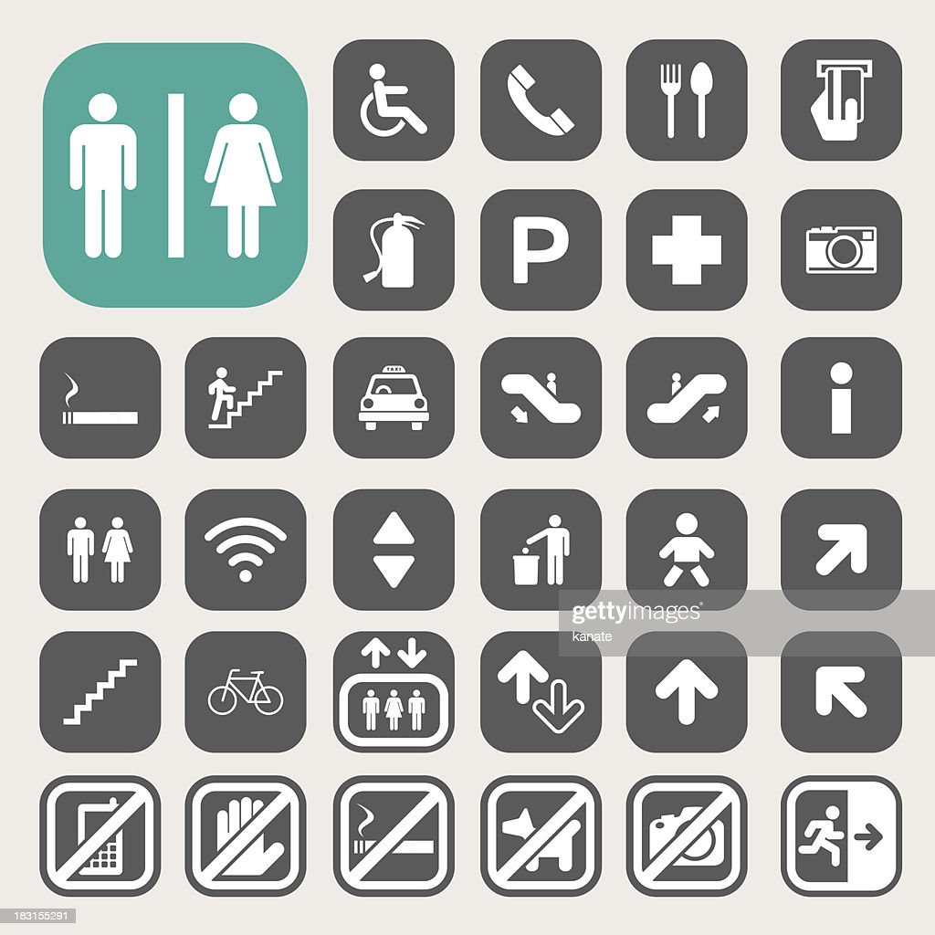 Minimalist icon set for public streets