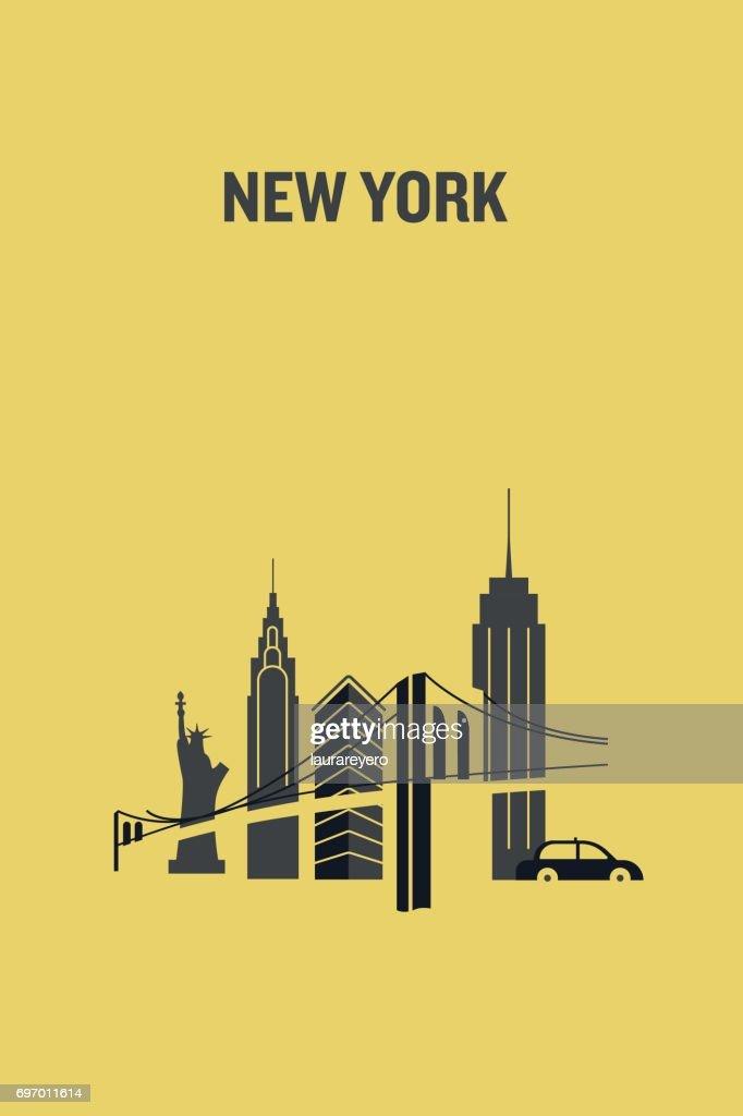 Minimalist illustration of New York city representing iconic buildings. Flat design.