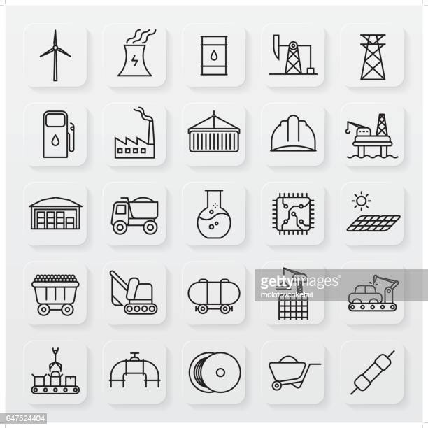 minimalist industrial line icon set - drilling rig stock illustrations, clip art, cartoons, & icons