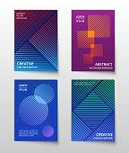 Minimalist line dynamic halftone. Abstract geometric vector modern backgrounds set