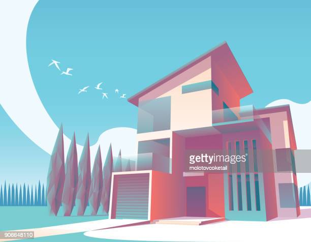 minimalist modern house illustration 1 - architectural feature stock illustrations, clip art, cartoons, & icons