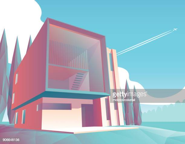 minimalist modern house illustration 2 - architectural feature stock illustrations, clip art, cartoons, & icons