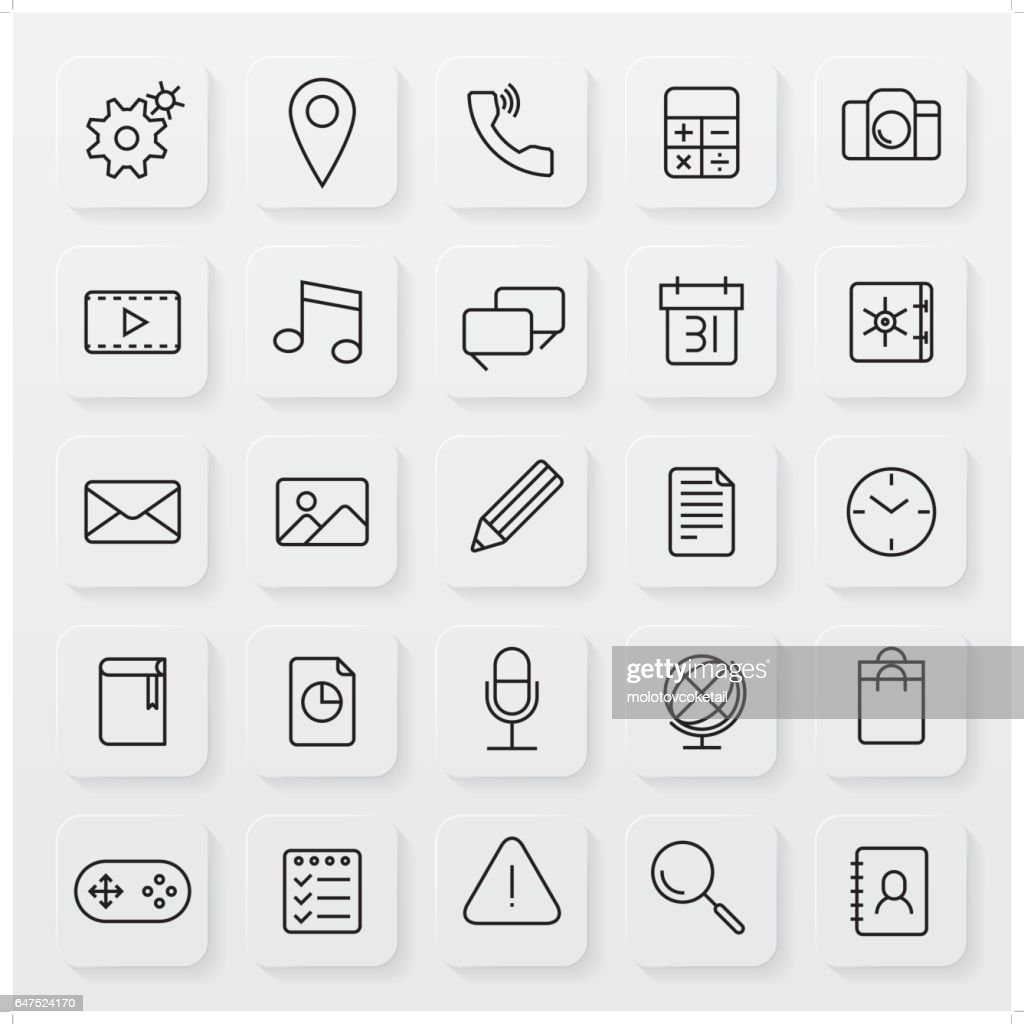 minimalist operating system line icon set