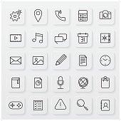 minimalist operating system line icon set