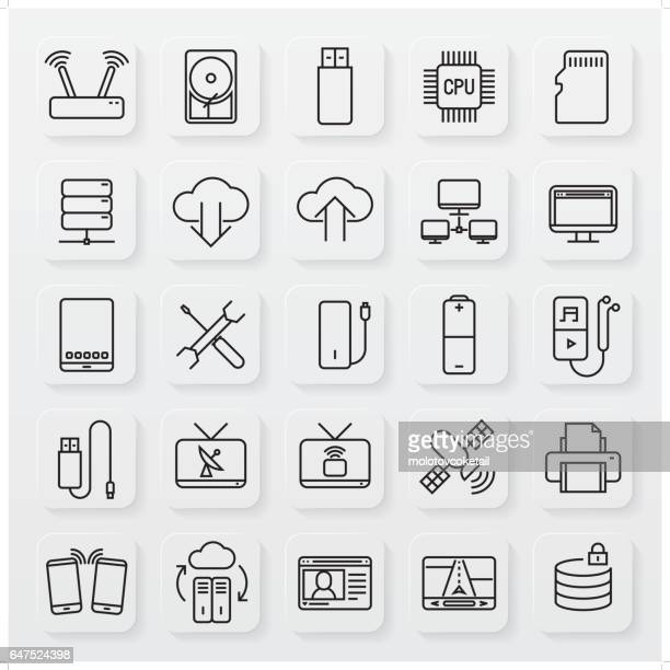 minimalist technology line icon set - usb cord stock illustrations, clip art, cartoons, & icons