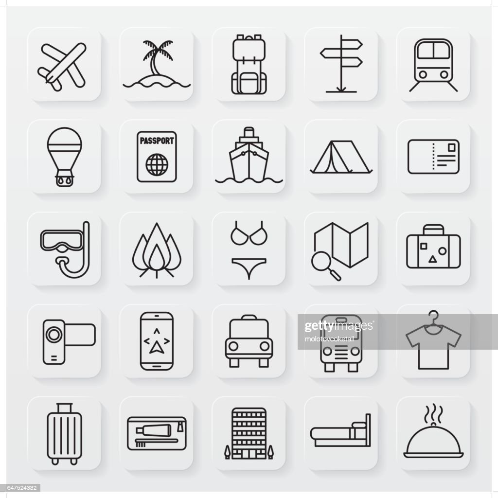minimalist travel line icon set