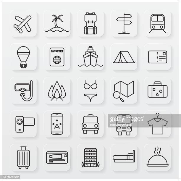 minimalist travel line icon set
