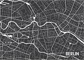 Minimalistic Berlin city map poster design.