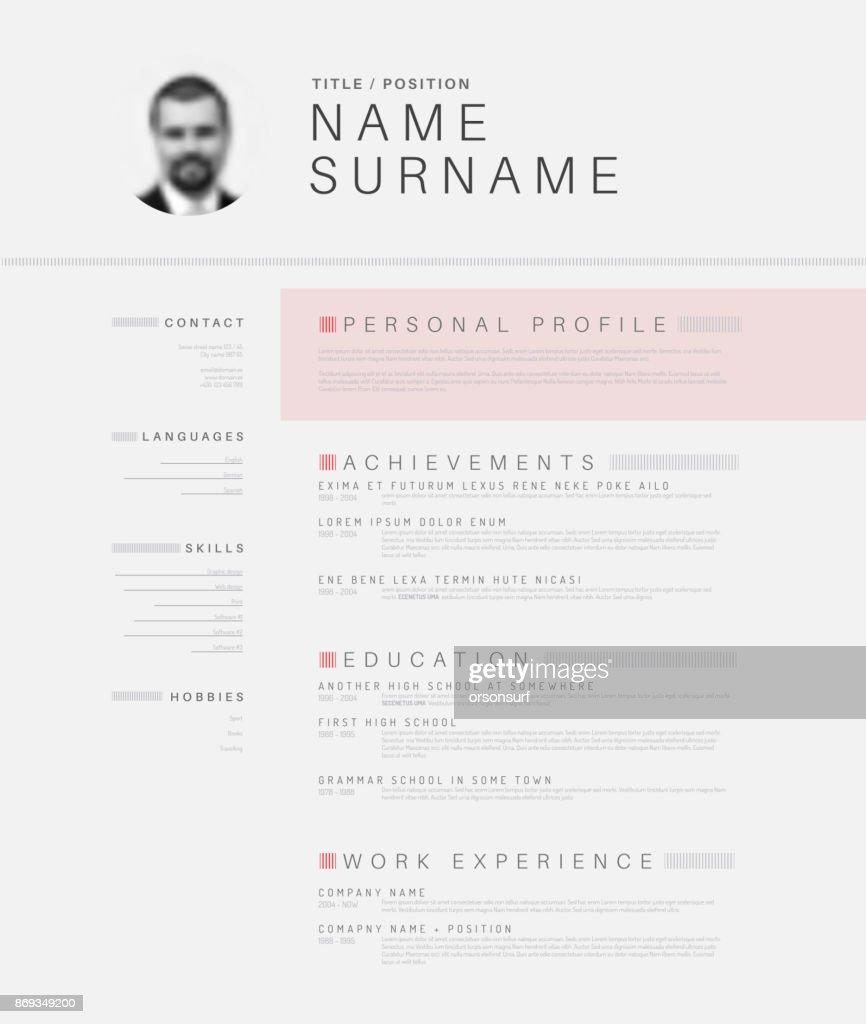 Minimalistic black and white cv / resume template
