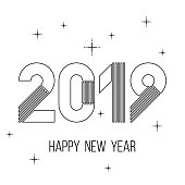 minimalistic black and white Happy new year 2019 card