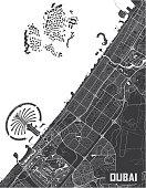 Minimalistic Dubai city map poster design.