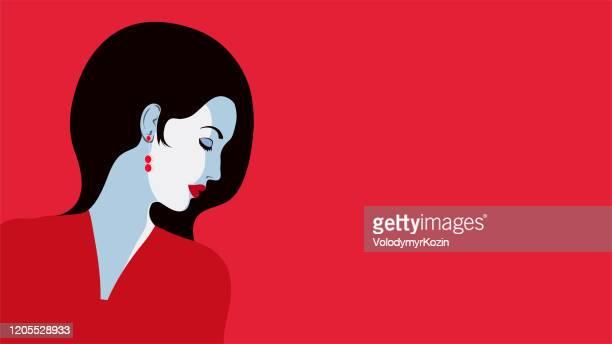 illustrations, cliparts, dessins animés et icônes de verticale plate minimaliste d'une fille dans le profil - femme bcbg
