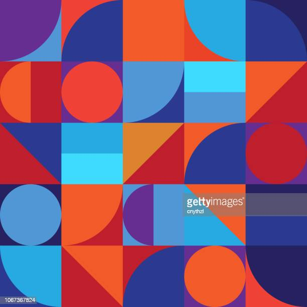 minimalistic geometry abstract vector pattern design - color image stock illustrations