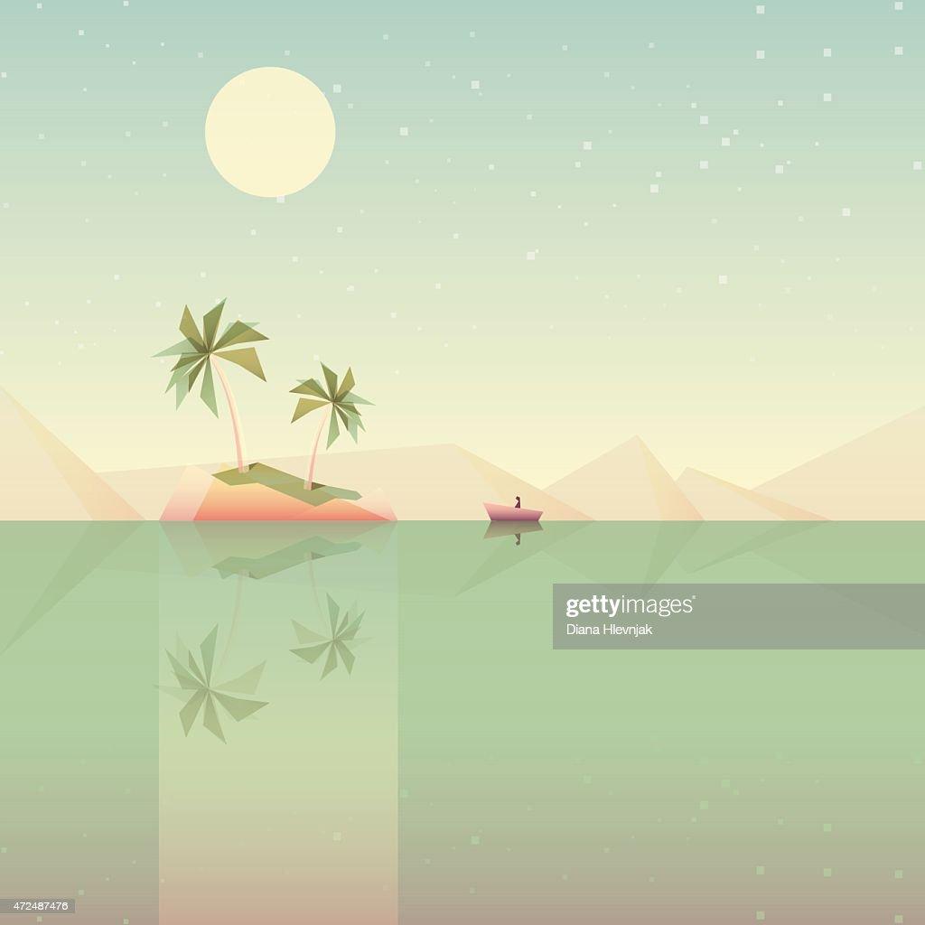 minimalistic low poly style summer wallpaper vector illustration- desert island