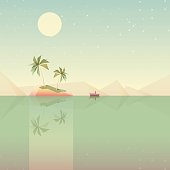 minimalistic low poly style summer wallpaper vector illustration- desert island