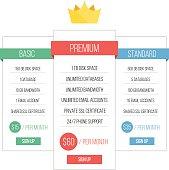 Minimalistic pricing table vector illustration