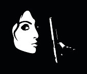 Minimalistic profile of young dangerous woman holding handgun