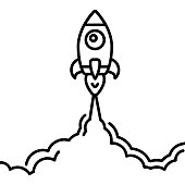 Minimalistic rocket launch line icon. Rocket illustration with clouds, space and launch fire, line art.