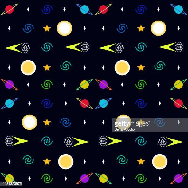 ilustraciones, imágenes clip art, dibujos animados e iconos de stock de ilustración minimalista del espacio sin costuras - planetas y galaxias sobre un fondo oscuro. - galaxia espiral