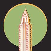 Minimalistic vector icon, The Chrysler Building, New York