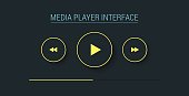 Minimalistic web player in flat style. Vector illustration.