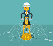 Mining Bitcoins - Businesswoman