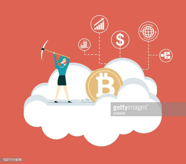Mining Bitcoins -Digging - Businesswoman