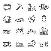 Mining, icon set. Extraction of minerals in the mine and surface, linear icons. Line with editable stroke
