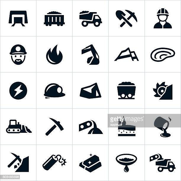 mining icons - coal mine stock illustrations