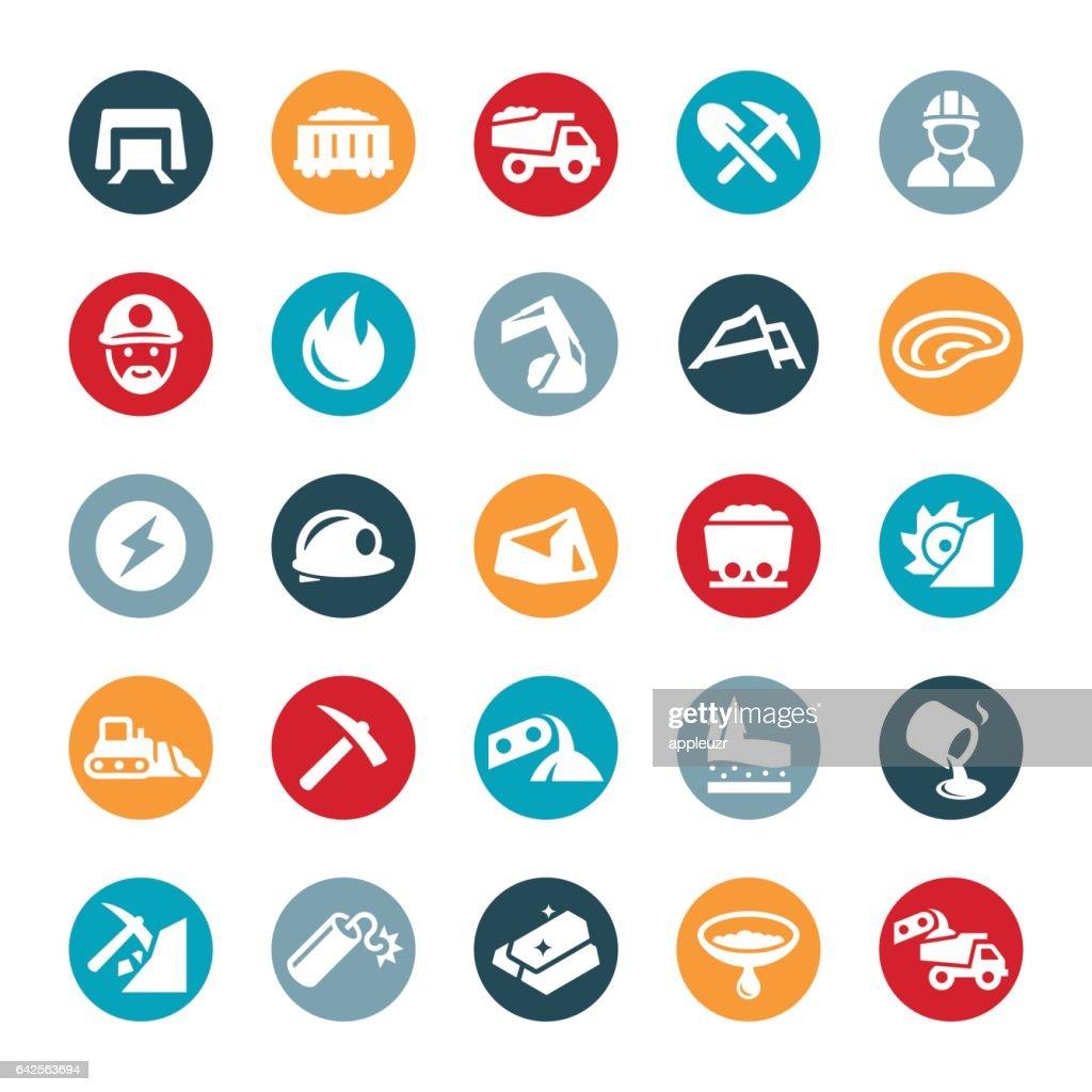 Mining Icons : stock illustration