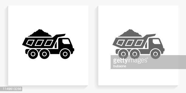 鉱業トラック黒と白の正方形のアイコン - 鉱業点のイラスト素材/クリップアート素材/マンガ素材/アイコン素材