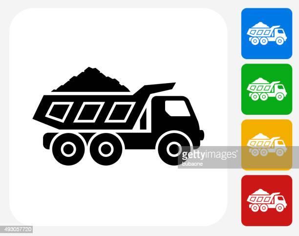 鉱業トラックグラフィックデザインアイコンフラット - ダンプカー点のイラスト素材/クリップアート素材/マンガ素材/アイコン素材