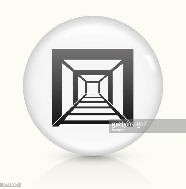 Mining Tunnel icon on white round vector button