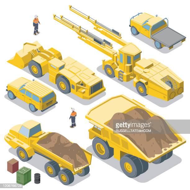 マイニング車両の逆ビュー(アイソメトリック) - 鉱業点のイラスト素材/クリップアート素材/マンガ素材/アイコン素材