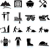 Mining Workers and Drilling black & white vector icon set