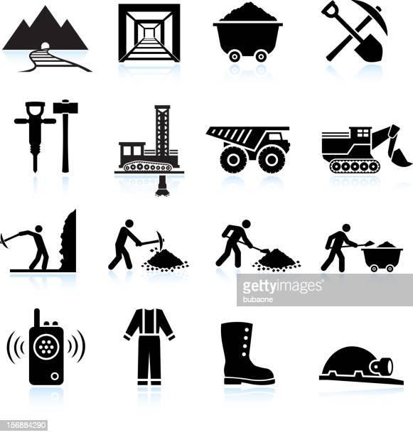 ilustrações, clipart, desenhos animados e ícones de trabalhadores de perfuração e mineração preto & branco, vector conjunto de ícones - estereótipo de classe trabalhadora