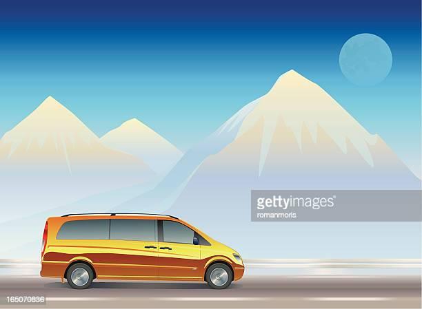 minivan at mountains - domestic car stock illustrations, clip art, cartoons, & icons