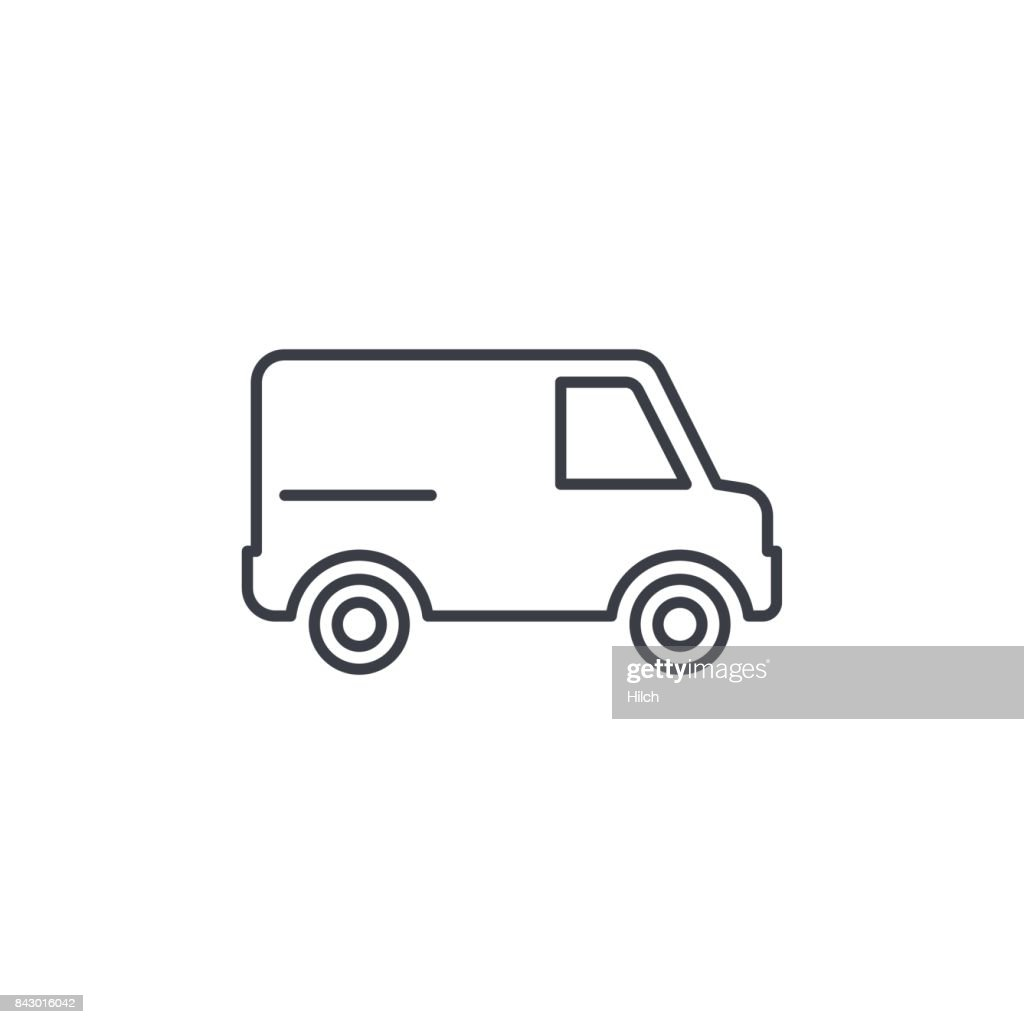 minivan, transportation, car thin line icon. Linear vector symbol