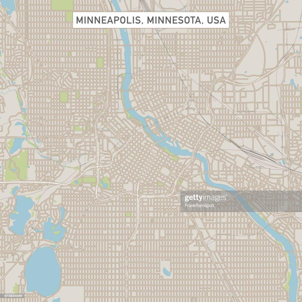 Minneapolis Minnesota USA Stadtstraße Karte : Vektorgrafik
