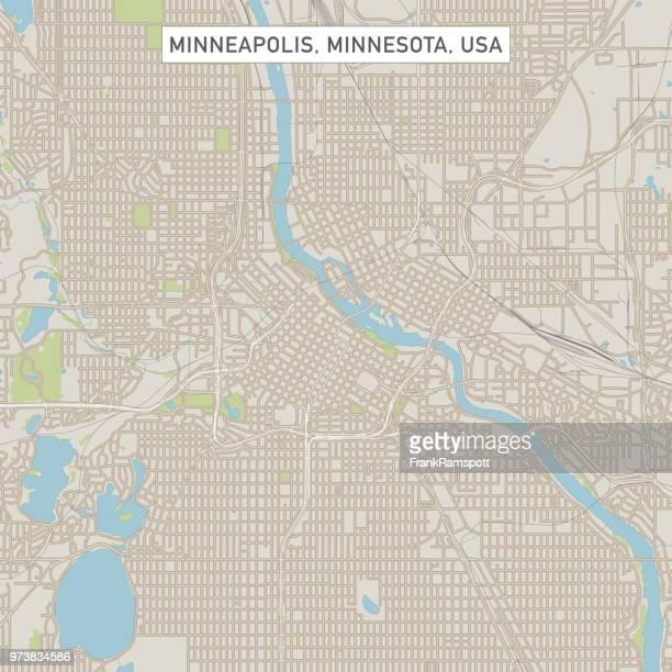 minneapolis minnesota us city street map - minneapolis stock illustrations