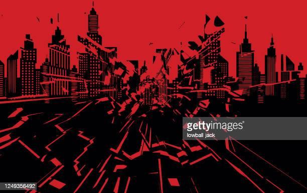 ミネアポリスのシルエットスカイライン。打ち砕かれたアメリカの都市。黒人の命は重要です。ベクトルストックのイラスト - 活動家点のイラスト素材/クリップアート素材/マンガ素材/アイコン素材