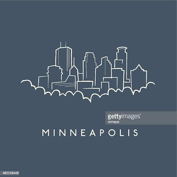 minneapolis skyline sketch - minneapolis stock illustrations