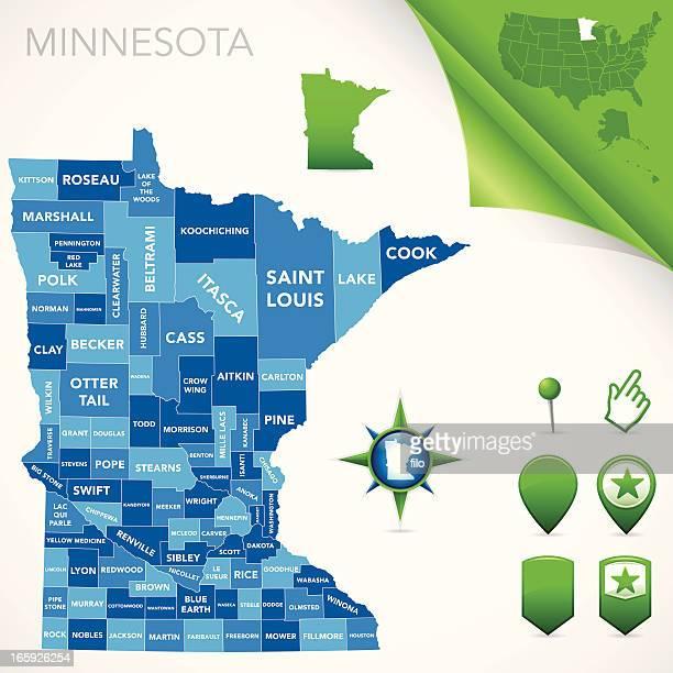 minnesota county map - minnesota stock illustrations