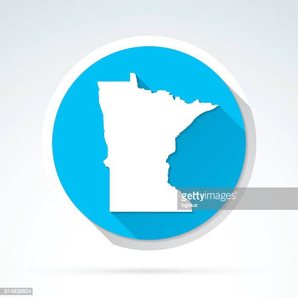 Minnesota map icon, Flat Design, Long Shadow